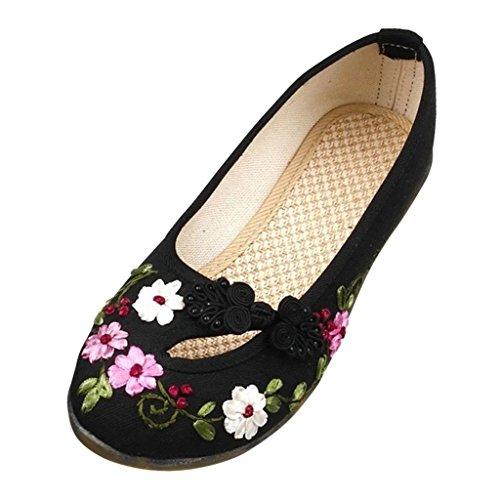 Hee Grand Women Beijing Style Embroidery Ventilate Pumps Black JtJ7rl5W