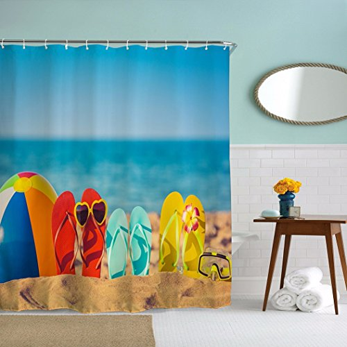 A.Monamour Funny Beach Shoes By The Sea Seaside Blue Ocean Nature Scenery Print Waterproof Mildew Resistant Shower Curtain For Bath Accessory 180X180 Cm / 72X72 Inch