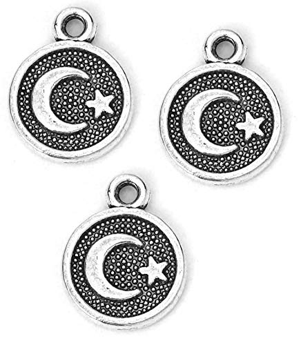 (Star and Crescent Moon Pendant Charms, 95 Pack - Wholesale Bulk Lot 10mm (3/8