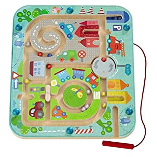 HABA Town Maze Magnetic Game Developmental STEM Activity Encourages Fine Motor Skills & Color Recognition with Roundabout, Roadblock and Fun City Theme