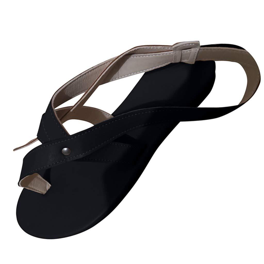 ✔ Hypothesis_X ☎ Womens Summer Beach Flat Sandals Summer Ankle Strap Sandals Thong Shoes Beach Walk Shoes Black