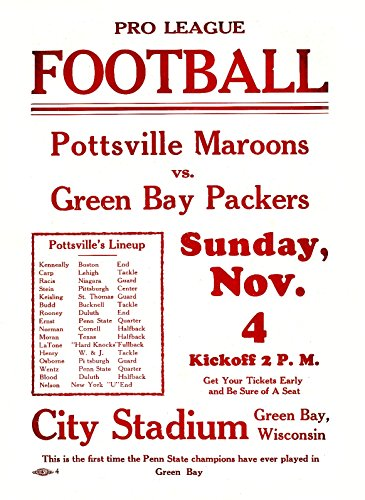 "Green Bay Packers vs Pottsville Maroons 1928 Game Man Cave Poster 8""x11"" Vintage NFL Game Poster"