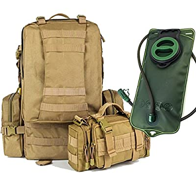 Melife 50L Large Tactical Backpack - 2L Hydration Water Bladder Included - Military & Bug Out Bag - MOLLE Compatible U.S. Army Style Rucksack - 3 MOLLE Bags Included. *High Quality Pack*
