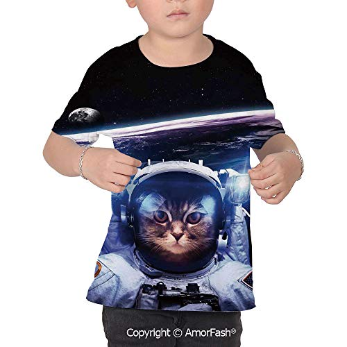 Cat Over Print T-Shirt,Boy T Shirt,Size XS-2XL Big,Funny Astronaut Cat Above Ear