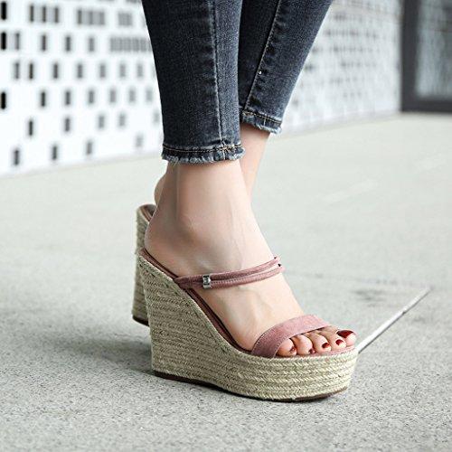 Sandals Wedding Elegant Sweet And Heels Straw Summer Shoes Pink Women 11cm Wedge Slippers High arfaTq