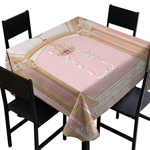 OUTDRART Decor Collection Table ClothsPrincess,Interior of The Ballroom Magic Castle Chandelier Ceiling Columns Kingdom Print, Rose Peach,W60 x L60 Tablecloth for Wedding