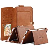 FLOVEME Vintage Wallet Case for iPhone 8 Plus, 2 in 1 PU Leather Zipper Multi-functional Handbag Removable Magnetic Kickstand Cover Flip 18 Card Slots Holder for iPhone 6/6s Plus, iPhone 7 Plus, Brown