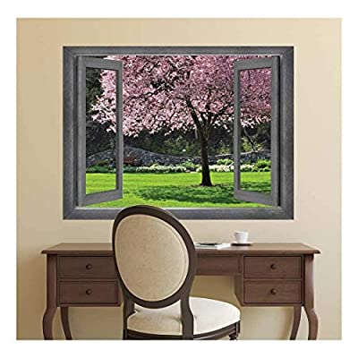 Open Window Creative Wall Decor - View of a Tranquil Garden - Wall Mural, Removable Sticker, Home Decor - 24x32 inches