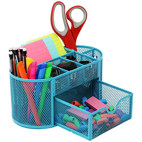 Mesh Desk Organizer Caddy For Office Supplies And Desk Accessories - Blue
