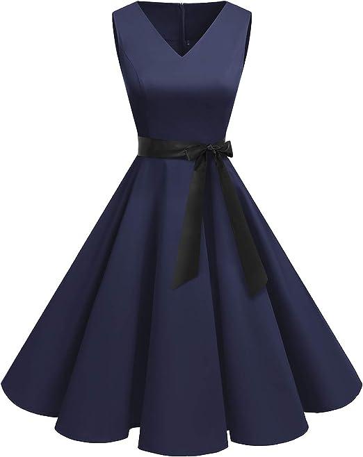 TALLA XXL. Bridesmay Vestido de Cóctel Fiesta Mujer Verano Años 50 Vintage Rockabilly Sin Mangas Pin Up Azul Marino XXL