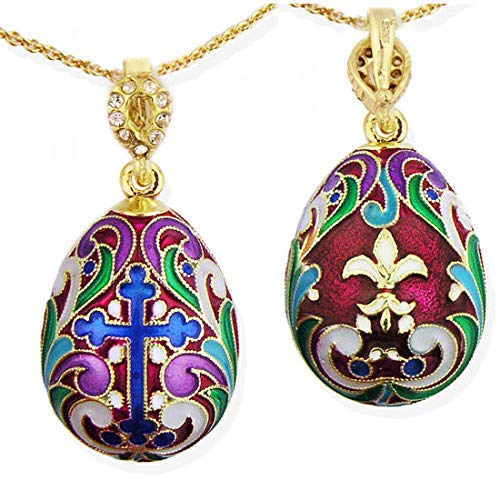 - World Faith 8746 Faberge Style Egg Pendant with Cross & Flor De Lis New