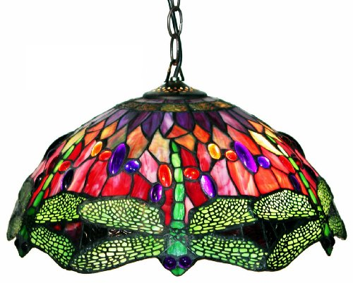 Tiffany Style Dragonfly Red Hanging Lamp - Gold Foil Bronze Spotlight