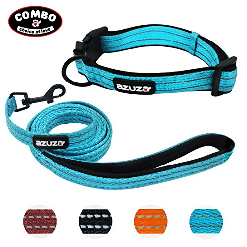AZUZA Pet 3M Reflective Paddded Dog Collar and Leash Set Combo for Daily Outdoor Walking Runing Training Hiking, Adjustable Collar with Breakaway Buckle and Leash with Padded Handle