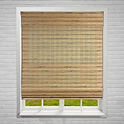 "Calyx Interiors Bamboo Roman Window Blinds Shades, 32"" W X 60"" H, Cordless Dali Tuscan"