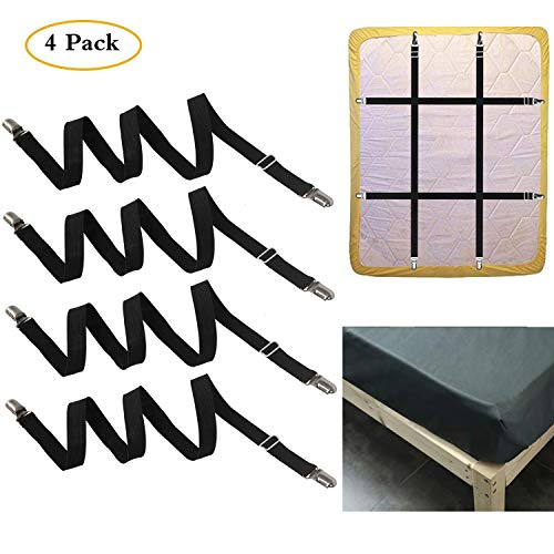 FLSLHS Adjustable Elastic Bed Sheet fixator - Bed Sheet Clip, it can fix The Bed Sheet, it is Used for Sofa Cover, Bed Sheet, Table Cloth and More Mattress with All The Shapes(4 PCS)