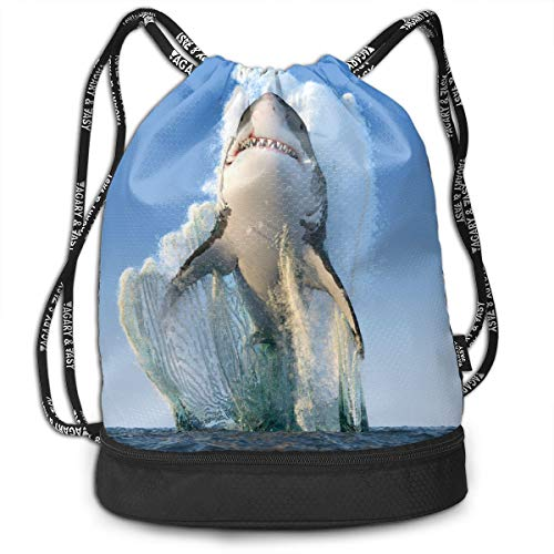 YyTiin Shark Render Sea Fangs Men Women Waterproof Drawstring Backpack Sports Dance Storage Bags Sackpack Gym Traveling Outdoor for $<!--$26.99-->