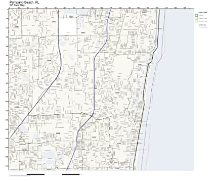 Amazon Com Zip Code Wall Map Of Pompano Beach Fl Zip Code Map