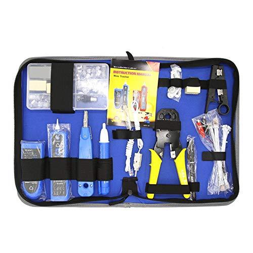 KNOSSOS Nf-1501 Kit di Attrezzi per Riparazione di Rete Set di Attrezzi per Manutenzione Professionale con Sacchetto - Blu