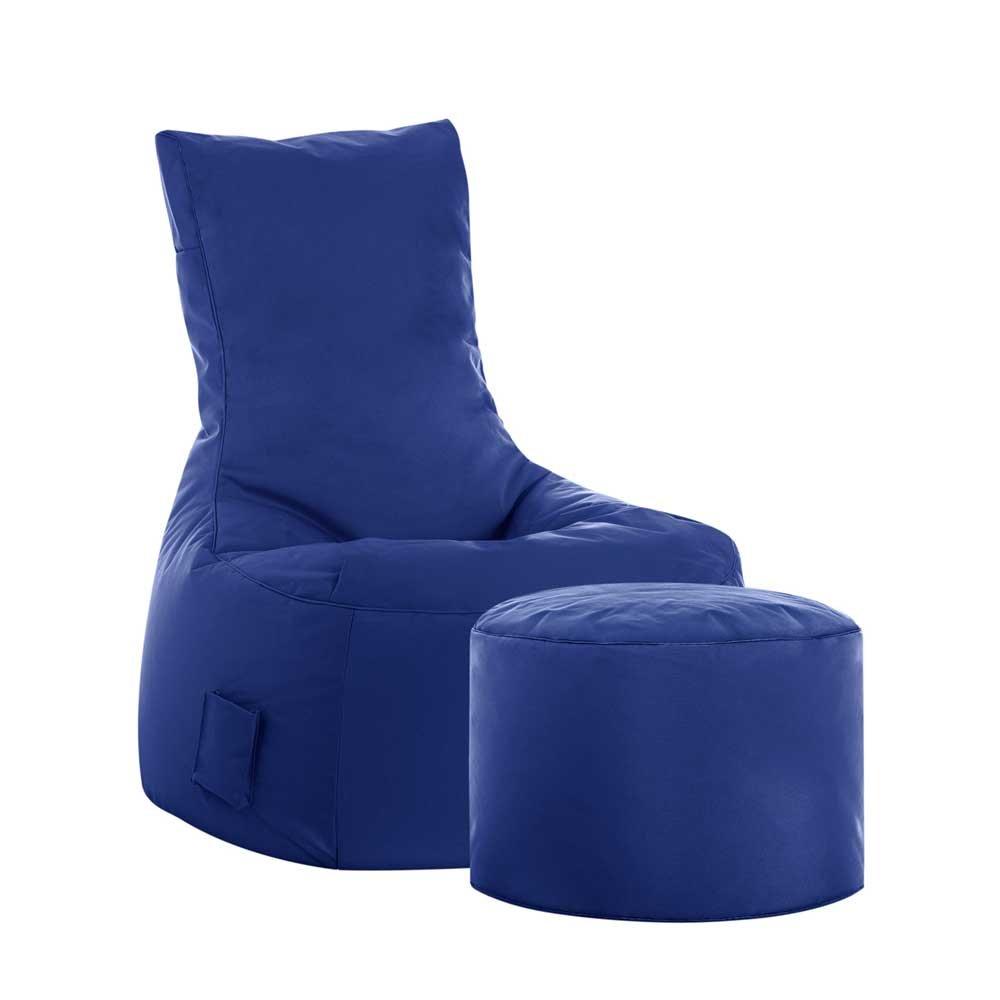 Pharao24 Fernseh Sitzsack in Blau Fußhocker Tiefe 115 cm mit Fußhocker Ja
