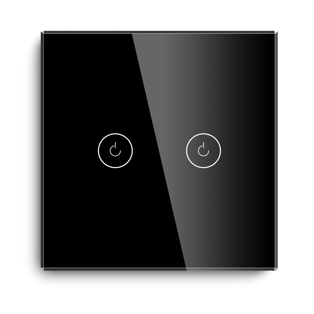 BSEED Smart Light Switch, Compatible with Alexa and Google Home,2 Gang 1 Way WiFi Touch Switch with Smart Life APP Control and Timing Function, Black Glass Panel Alexa Switch 【Neutral Wire Required】
