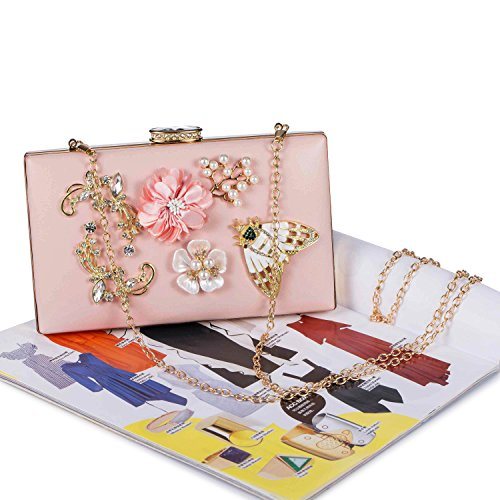 Bridal Pink Elegant Clutch Wedding Butterfly Beaded Purse Chichitop Women's Floral Handbag Evening 6qpRzFw