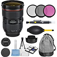 Canon EF 24-70mm f/2.8L II USM Standard Zoom Lens with 3pc Filter Kit (UV, CPL, FLD) + Pouch + Lens Hood + Deluxe Cleaning Kit - International Version