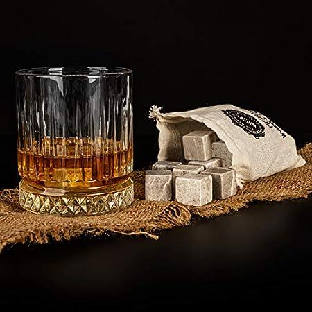DS Gifts Vaso grande de whisky antiguo | 12 piezas de piedras de whisky con bolsa de regalo | Idea perfecta como regalo para papá | Mejor regalo para hombre vaso de whisky (Gris)