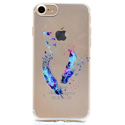 iPhone 6 / 6S Plus Hülle , Leiai Modisch Feder Pferd TPU Weich Tasche Schutzhülle Silikon Handyhülle Stoßdämpfende Schale Fall Case Shell für Apple iPhone 6 / 6S Plus