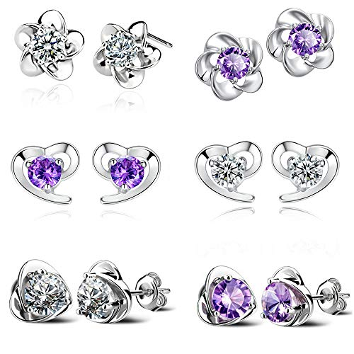 MissDaisy 6-18 Pairs Sterling Silver Multiple Stud Earrings Set Cut Round Flower Heart Animal CZ Small Silver Earrings for Women Girls (style2-6pairs)