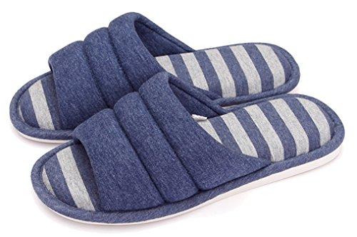 Blubi Donna Strisce Open Toe Traspirante Ciabattine Di Lino Pantofole Estive Blu Marino