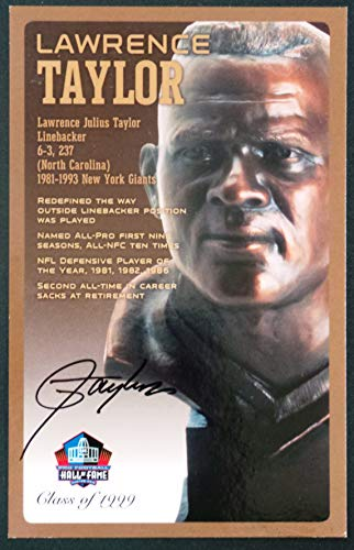 (PRO FOOTBALL HALL OF FAME Lawrence Taylor Signed Bronze Bust Set Autographed Card with COA (Limited Edition #41 of 150))