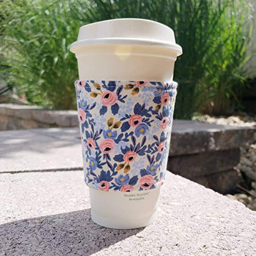 - Fabric coffee cozy/cup sleeve/coffee sleeve/coffee cup holder - Rifle Paper Co Les Fleurs Periwinkle Flowers