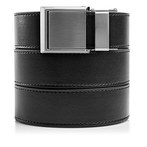 Vegan Black Leather with Square Silver Buckle