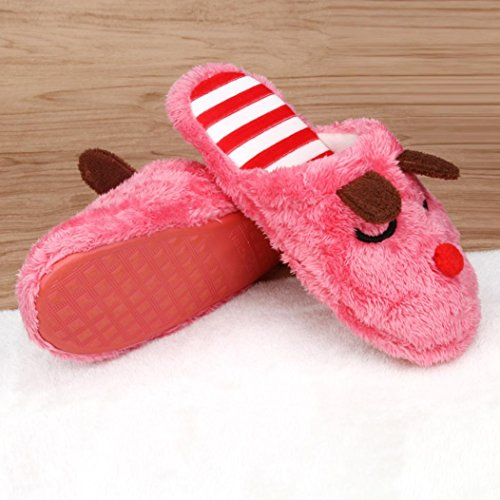 Red Plush Men TM Shoes Soft Women slip Slippers Elevin Warm Home Indoor 2 House Anti Cotton Couple FxqZwFYU