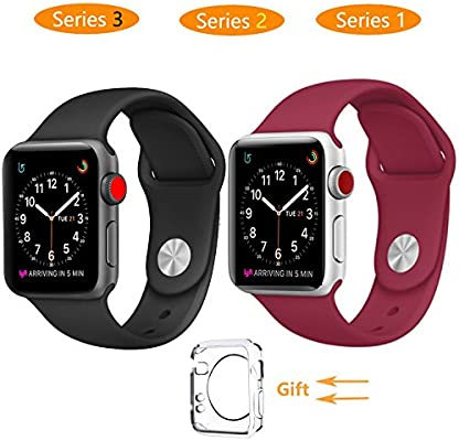Reloj inteligente banda 38 mm, jihibo banda para Apple Watch 38 mm serie 3/Series2/Series1, Sport, Edition. (38 mm, negro)