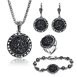 LUYUAN JEWELRY 4 PCS Black Jewelry Set for Women Diamond Drusy Agate Pendant Women Necklace Earring