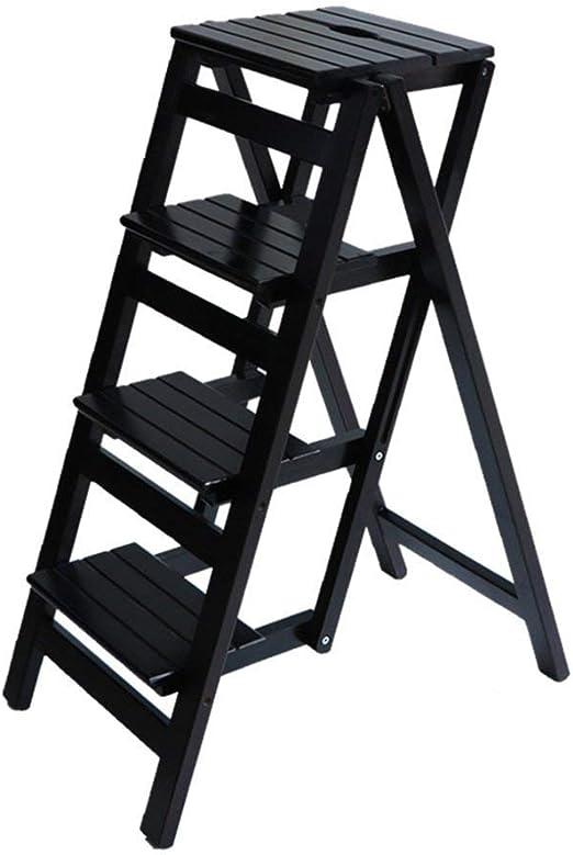 Gaoli plegable escalones de madera maciza Escalera taburete plegable Biblioteca Pasos heces multifuncional blanca Escala de madera de madera de color Estanterías para silla de la escala Oficina Cocina con 4 pasos:
