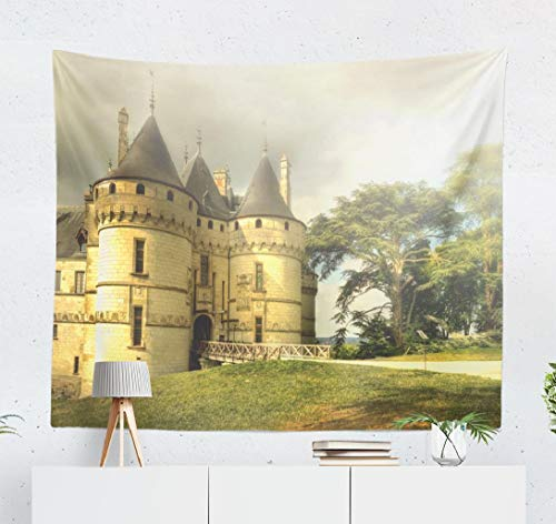 Happyome Ancient Castle Tapestry, Wall Hanging Tapestry Castle Forest Scenery Tale Aged Ancient Architecture Wall Tapestry Dorm Home Decor Bedroom Living Room in 80