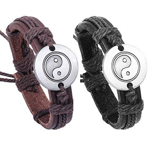 (Juland 2PCS Braided String Bracelet Tai Chi Ying Yang Men Women PU Leather Wristband --Black & Brown)