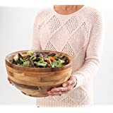 Hardwood Chef Premium Thick Acacia Wood Salad, Serving, and Mixing Bowl, 12 x 6 x 12 inch   Rustic High-End Decorative with ¾ in Slanted Lip for Juices   Incredible Customer Service with BONUS e-Book