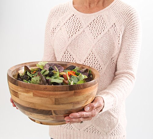 Hardwood Chef Premium Thick Acacia Wood Salad, Serving, and Mixing Bowl, 12 x 6 x 12 inch | Rustic High-End Decorative with ¾ in Slanted Lip for Juices | Incredible Customer Service with BONUS e-Book (Bowl Large Extra Serving)