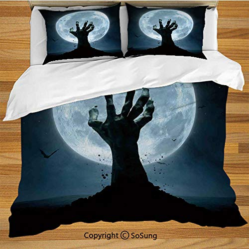 Halloween Decorations Queen Size Bedding Duvet Cover Set,Zombie Earth Soil Full Moon Bat Horror Story October Twilight Themed Decorative 3 Piece Bedding Set with 2 Pillow Shams,Blue Black]()