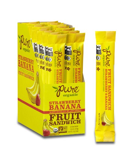 Pure Organic Strawberry Banana Layered Fruit Bar, Certified Organic, Gluten-Free, Non-GMO, Vegan, Kosher, Peanut Free, No artificial Ingredeints Fruit Snack, 0.63 ounce (Pack of 20)