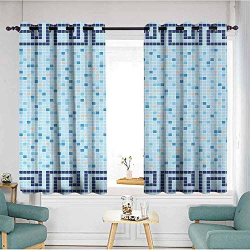 Living Room/Bedroom Window Curtains,Aqua,Antique Greek Border Mosaic Tile Squares Abstract Swimming Pool Design,Pale Blue Navy Blue Beige,Insulated with Grommet Curtains for Bedroom,W55x63L