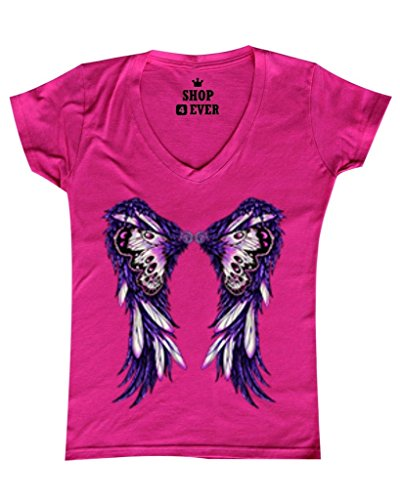 Shop4Ever Purple Butterfly Wings Women's V-Neck T-shirt Fashion Shirts Small Pink (Butterfly Fairy T-shirt)