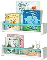 J JACKCUBE DESIGN Wall Mount Kids Nursery Decor Bookshelf Floating Wall Shelf Photo Display Toy Storage Organizer White Set of 2 - MK695A