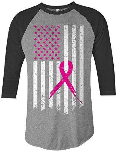 Threadrock Pink Ribbon Breast Cancer Awareness Flag Unisex Raglan T-Shirt S Gray/Black (Flag Raglan Tee)