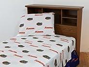 Florida Gators White Sheet Set- King Bed
