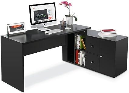 En forma de L para, moderno elegante mesa de ejecutivo con oculta ...