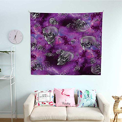 Skull Wall Tapestry Horror Movie Thirller Themed Flying Skull Heads Halloween in Outer Space Image Colorful Tapestry 63W x 63L InchBlack and Purple -